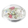 Glass Lamp Bead 15x11mm Crystal/Rose